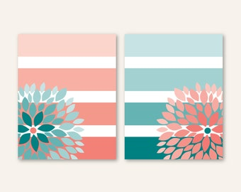 Floral Bursts Big Stripes Art Prints, Ombre Style Modern Home Art Set of (2) 8 x 10 OR 11 x 14 sizes // Pink Coral, Teal - Bedroom Bathroom