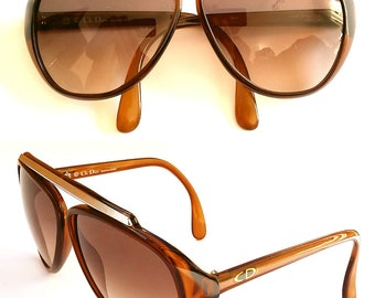 70s Vintage Christian Dior Monsieur 2059 Brown Aviator Sunglasses Austria Optyl