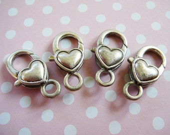 Heart Crabclaw Clasp, Antiqued Silvertone Huge