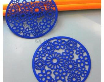 2 prints watermarks - blue - Diam: 47 mm - floral background # 049