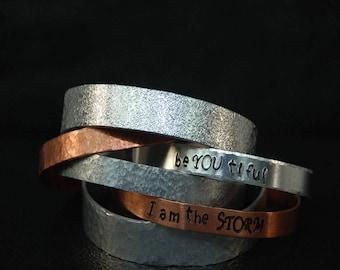 Personalized Cuff, Textured Cuff, Handstamped Bracelet, Secret Message Bracelet, Bridesmaid Gift, Coordinate Jewelry,  Custom Cuff