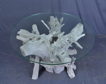 Sun bleached silver gray round driftwood coffee table