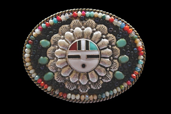 Southwestern Western Native American Style Hopi Sun Kochina Mosaic Belt Buckle