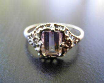S254 Made To Order... Sterling Silver Antique Filigree Ring With 1 carat Natural Ametrine Gemstone