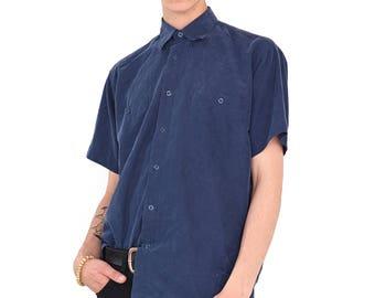 VINTAGE Blue Short Sleeve Retro Button Down Shirt