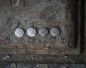 Round Rough Sparkle Stud Earring with Tapered Edges!