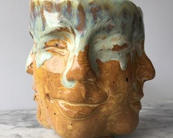 Christelle quatre vents tasse bol visage Sculpture tête de Bouddha en marbre