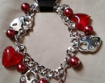 Red Hearts and Silver Locks Charm Bracelet