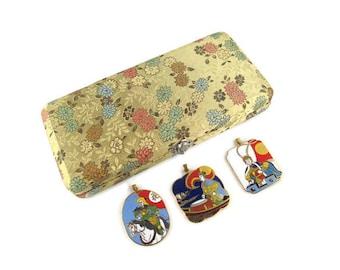 3 Chinese Opera Cloisonne  Pendants/The Peking Jewelry Company /Beijing Arts Set/ Korvettes Oriental Enamel Stock/Silk Road Gold Brocade Box