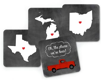 Custom Drink Coasters, State Coasters Set, Oh The Places We've Been State Map Coasters, Gifts for Couples, Unique Anniversary Gifts