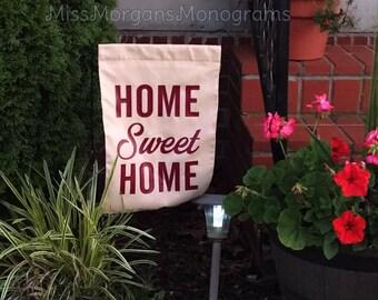 "Burlap Garden Flag ""HOME SWEET HOME"""