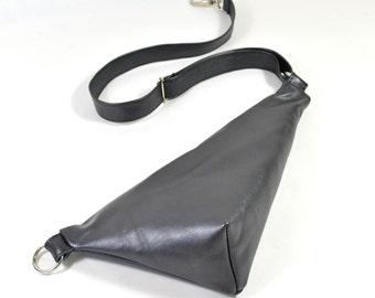 Emi - Handmade Gunmetal Grey Leather Waist Shoulder Bag Zip Pouch Purse AW17