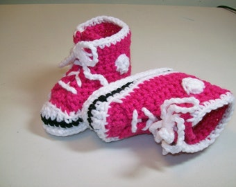 Baby Booties Crochet Super Pink  Hi-top Sneaker Booties Converse Style Basketball Baby Shoes