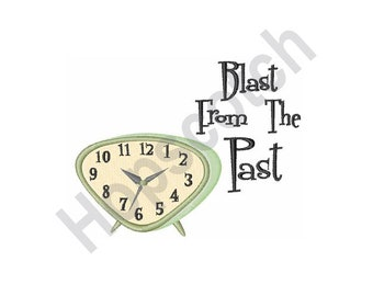 Blast From Past - Machine Embroidery Design, Retro Clock