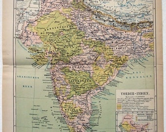 India - Original 1877 Map by Meyers. Ceylon Nepal Antique