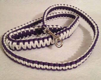 2, 4 or 6-ft Paracord Leash - Purple and White