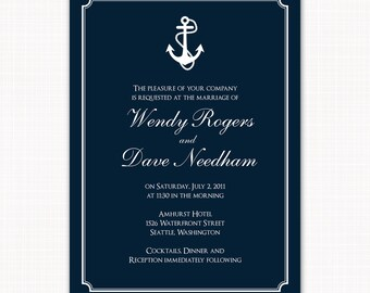 Nautical wedding invitation - anchors invitation for wedding by the ocean