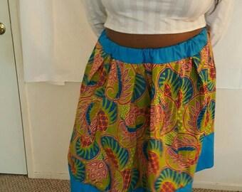 Blue/Green Print A-Line Skirt