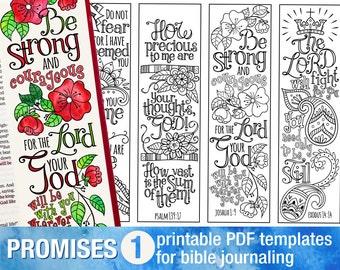 GOD'S PROMISES - Bible journaling printable templates, illustrated christian faith bookmarks, black and white bible verse prayer journal art