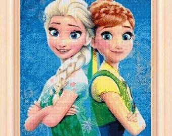 Frozen Fever Elsa and Anna, cross stitch pattern, disney cross stitch, frozen cross stitch, frozen pattern, Elsa cross stitch, Anna frozen