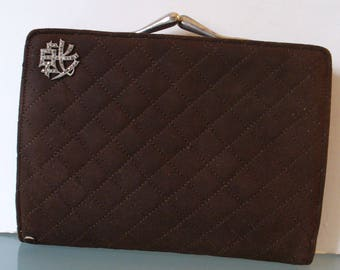 Vintage Quilted Brown Suede Clutch Wallet