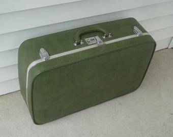 SALE -- Avocado green suitcase by Ventura