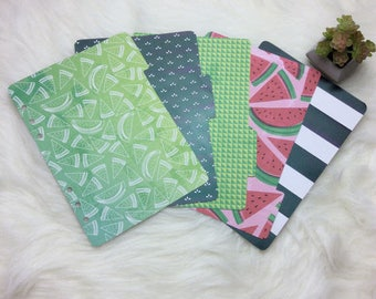 Wild Watermelon // SET of 5 dividers for use in a5 planners
