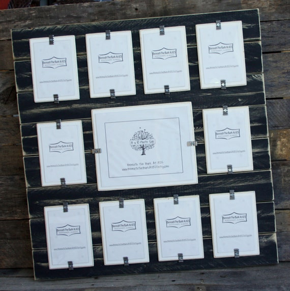 Collage Picture Frame - Distressed Wood - Holds 11 Photos - 10 - 4x6 ...