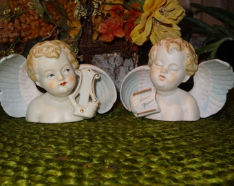 Vintage Set of Hand Painted  Bisque Angel Busts / Angel Figurines / Cherub Figurines / Angel Decor / Angel Busts