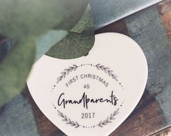 First Christmas As Grandparents   ...Ceramic Heart  - Christmas - Keepsake