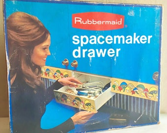 Vintage Rubbermaid Mushrooms Spacemaker Undermount Storage Drawer Complete in Original Box New Old Stock