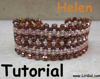 Helen Twin  Superduo  Beadwork Bracelet PDF Tutorial