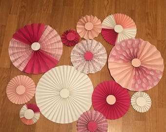 12 Pink Rosettes| Pink Baby Shower decorations|Pink Paper Fans| paper fan backdrop