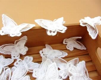 White butterfly Applique ,3D applique,Lace applique