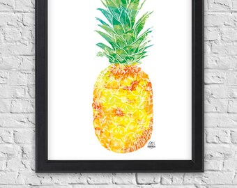 "Shows pineapple ""Yellow-green"" with ink, exotic fruit, poster, tropical pattern"