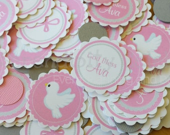 Personalized Table Confetti, Baptism Confetti -Table Minis -Religious -Spiritual -Cross -Dove -God Bless Birthday -Baby Shower