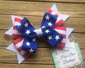 4th of July bow - 5 inch hair bow - Stars and Stripes - patriotic hair bow
