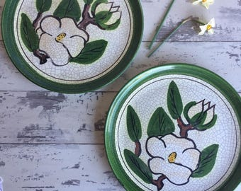 Vintage Pottery Plates - Magnolia - Green Hand Painted Matte Crackle Glaze - Art Pottery