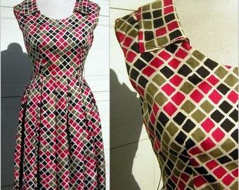 Vintage Summer Dress Harlequin Diamond Print in Pink Black & Taupe - Satin Twill by Raffaele - XS