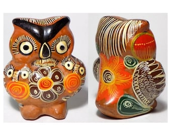 Vintage Mexican Clay Figurine, Painted Owl, Clay Animal Figurine, Mexican Folk Art, Mexico