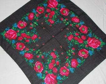 Soviet Vintage Russian Deep Black Shawl With Floral Design Women Head Wool Floral Grass Head Kerchief Folk Art Scarf Soviet all-season scarf