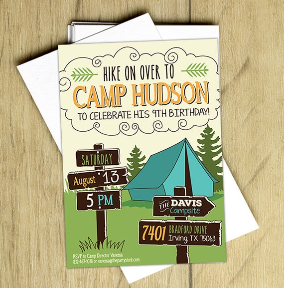 Camping birthday invitation camping birthday party invite filmwisefo Images