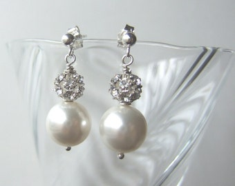 Stacked Swarovski Fireball and Pearl Earrings Sterling Silver