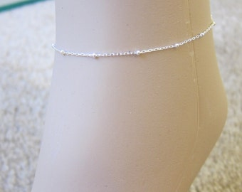 Silver beaded anklet ,Tiny satellite Anklet, Silver Ankle Bracelet, Delicate anklet, Simple Anklet, beach, summer, gold beaded anklet