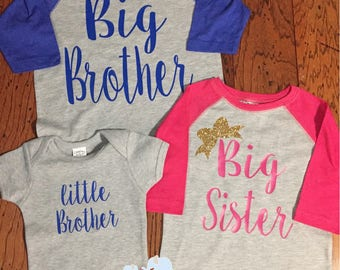 Big brother big sister little brother matching sibling raglans baseball shirts with name on the back & number on back pregnancy announcement