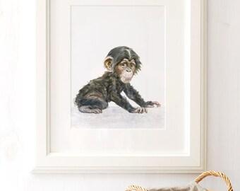 Baby Monkey Print Monkey Nursery Art Baby Animal Print Monkey Watercolor Safari Nursery Art Zoo Animal Print Monkey Nursery Nursery decor
