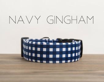 Modern Summery Gingham Dog Collar in Navy