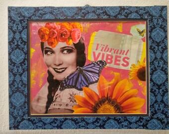 Original Mixed Media Collage Hand cut 10 x 13 Mat Delores Del Rio
