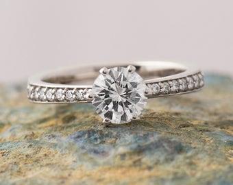 Modern Engagement Ring, Large Diamond Engagement Ring, 18K White Gold, Pave Engagement Ring, Wedding Diamond Ring, GIA Diamond