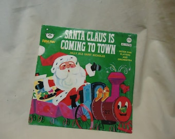 Vintage Santa Claus Is Coming To Town Childrens Record by Peter Pan 45 Rpm, collectable